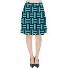 Woven1 Black Marble & Turquoise Colored Pencil (r) Velvet High Waist Skirt