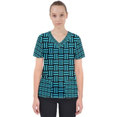 Woven1 Black Marble & Turquoise Colored Pencil (r) Scrub Top