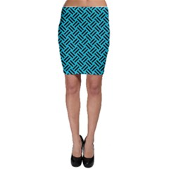 Woven2 Black Marble & Turquoise Colored Pencil Bodycon Skirt