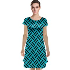 Woven2 Black Marble & Turquoise Colored Pencil Cap Sleeve Nightdress