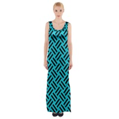 Woven2 Black Marble & Turquoise Colored Pencil Maxi Thigh Split Dress