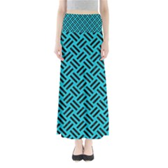 Woven2 Black Marble & Turquoise Colored Pencil Full Length Maxi Skirt