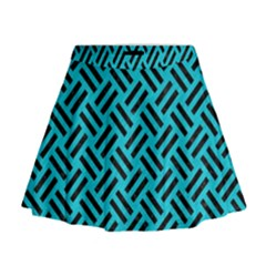 Woven2 Black Marble & Turquoise Colored Pencil Mini Flare Skirt