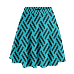 Woven2 Black Marble & Turquoise Colored Pencil High Waist Skirt