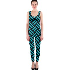 Woven2 Black Marble & Turquoise Colored Pencil (r) Onepiece Catsuit