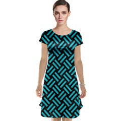 Woven2 Black Marble & Turquoise Colored Pencil (r) Cap Sleeve Nightdress