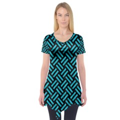 Woven2 Black Marble & Turquoise Colored Pencil (r) Short Sleeve Tunic