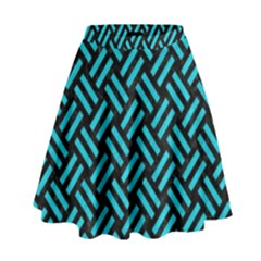 Woven2 Black Marble & Turquoise Colored Pencil (r) High Waist Skirt