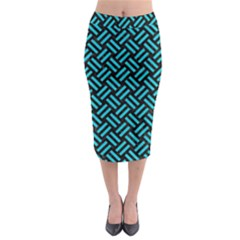 Woven2 Black Marble & Turquoise Colored Pencil (r) Midi Pencil Skirt
