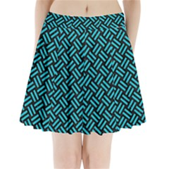Woven2 Black Marble & Turquoise Colored Pencil (r) Pleated Mini Skirt