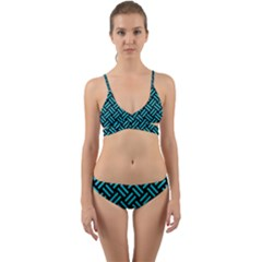 Woven2 Black Marble & Turquoise Colored Pencil (r) Wrap Around Bikini Set