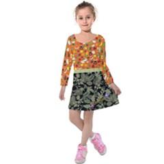 Orange & Navy Autumn Fall Design Kids  Long Sleeve Velvet Dress