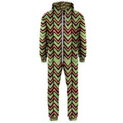 Zig Zag Multicolored Ethnic Pattern Hooded Jumpsuit (men)