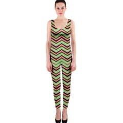 Zig Zag Multicolored Ethnic Pattern Onepiece Catsuit