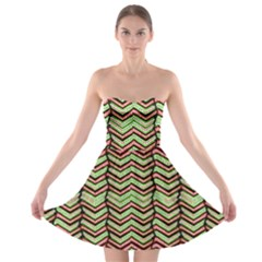 Zig Zag Multicolored Ethnic Pattern Strapless Bra Top Dress