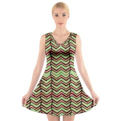 Zig Zag Multicolored Ethnic Pattern V Neck Sleeveless Skater Dress