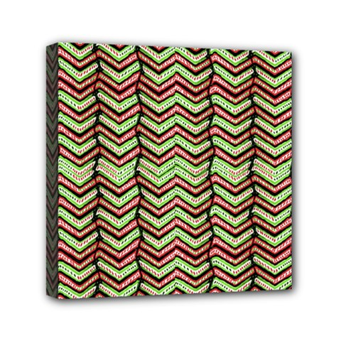 Zig Zag Multicolored Ethnic Pattern Mini Canvas 6  X 6