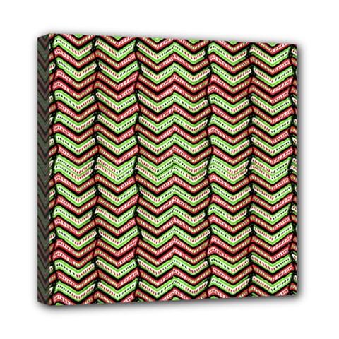 Zig Zag Multicolored Ethnic Pattern Mini Canvas 8  X 8