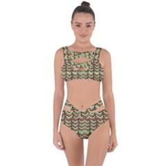 Zig Zag Multicolored Ethnic Pattern Bandaged Up Bikini Set