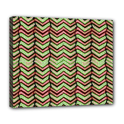 Zig Zag Multicolored Ethnic Pattern Deluxe Canvas 24  X 20