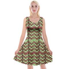 Zig Zag Multicolored Ethnic Pattern Reversible Velvet Sleeveless Dress
