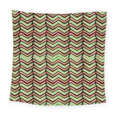 Zig Zag Multicolored Ethnic Pattern Square Tapestry (large)