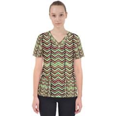 Zig Zag Multicolored Ethnic Pattern Scrub Top