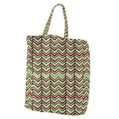 Zig Zag Multicolored Ethnic Pattern Giant Grocery Zipper Tote