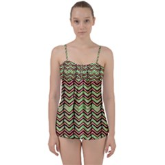 Zig Zag Multicolored Ethnic Pattern Babydoll Tankini Set
