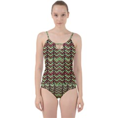 Zig Zag Multicolored Ethnic Pattern Cut Out Top Tankini Set