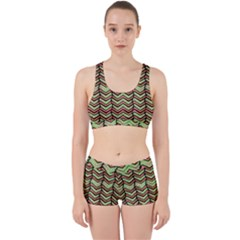 Zig Zag Multicolored Ethnic Pattern Work It Out Sports Bra Set