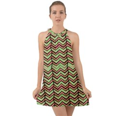 Zig Zag Multicolored Ethnic Pattern Halter Tie Back Chiffon Dress