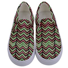 Zig Zag Multicolored Ethnic Pattern Kids  Canvas Slip Ons
