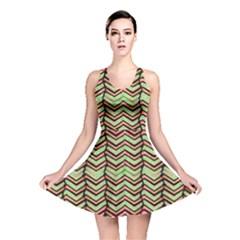 Zig Zag Multicolored Ethnic Pattern Reversible Skater Dress