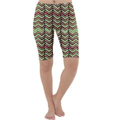 Zig Zag Multicolored Ethnic Pattern Cropped Leggings