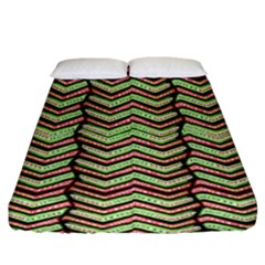 Zig Zag Multicolored Ethnic Pattern Fitted Sheet (king Size)