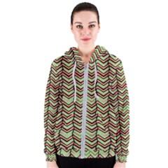 Zig Zag Multicolored Ethnic Pattern Women s Zipper Hoodie