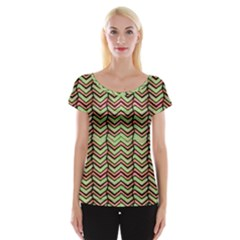 Zig Zag Multicolored Ethnic Pattern Cap Sleeve Tops
