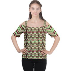 Zig Zag Multicolored Ethnic Pattern Cutout Shoulder Tee