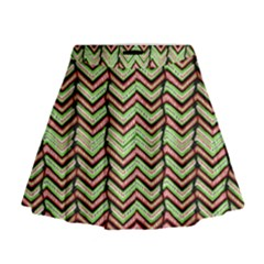 Zig Zag Multicolored Ethnic Pattern Mini Flare Skirt