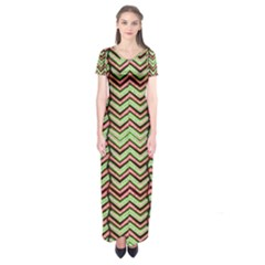 Zig Zag Multicolored Ethnic Pattern Short Sleeve Maxi Dress