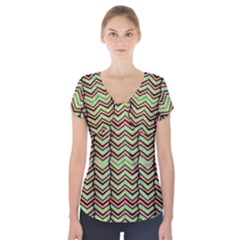 Zig Zag Multicolored Ethnic Pattern Short Sleeve Front Detail Top