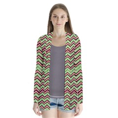 Zig Zag Multicolored Ethnic Pattern Drape Collar Cardigan