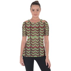 Zig Zag Multicolored Ethnic Pattern Short Sleeve Top