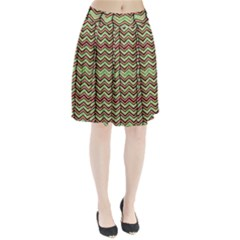 Zig Zag Multicolored Ethnic Pattern Pleated Skirt