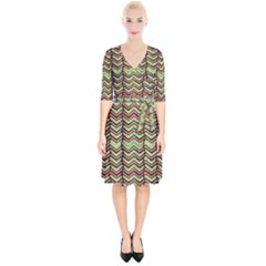 Zig Zag Multicolored Ethnic Pattern Wrap Up Cocktail Dress