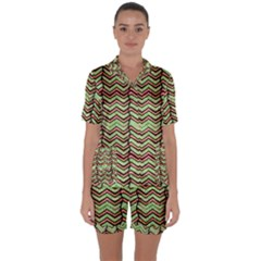 Zig Zag Multicolored Ethnic Pattern Satin Short Sleeve Pyjamas Set