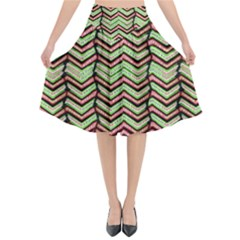 Zig Zag Multicolored Ethnic Pattern Flared Midi Skirt