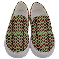 Zig Zag Multicolored Ethnic Pattern Men s Canvas Slip Ons
