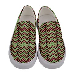 Zig Zag Multicolored Ethnic Pattern Women s Canvas Slip Ons